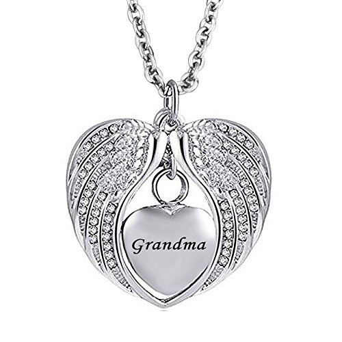 SexyMandala Angel Wing Urn Necklace for Ashes Dad Mom Grandma Heart Cremation Memorial Keepsake Pendant Necklace Jewelry with Fill ()