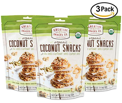 - Creative Snacks Naturally Delicious Organic Coconut Snacks with Chia, Sunflower and Pumpkin Seeds,3 Pack, 4 Ounce Resealable Bags