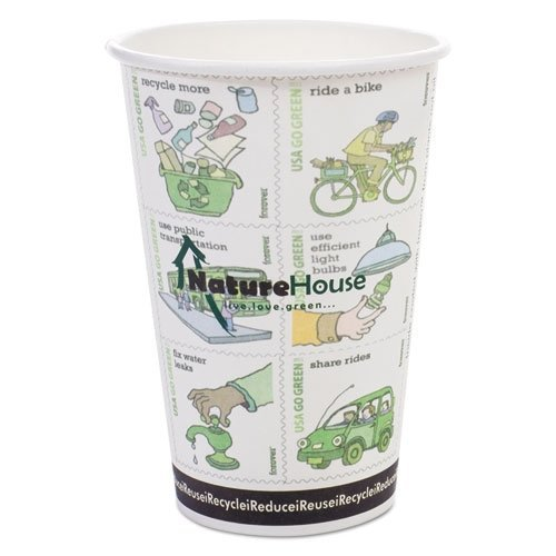 NatureHouse Compostable Insulated Ripple Grip Hot Cups, 8 oz., 500/Case