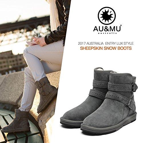 Au & Mu Aumu Mujeres Mid Calf Snow Botas Botas De Invierno Cortas Negro 1