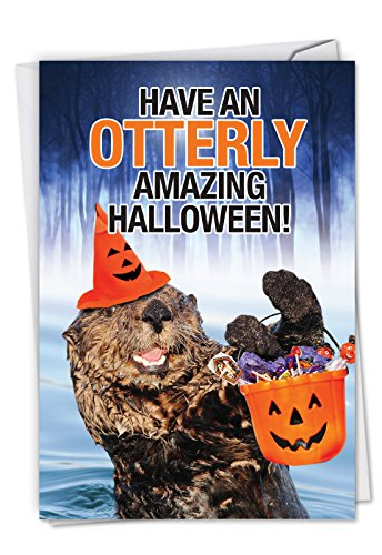 C6209HWG Otterly Amazing Halloween: Hilarious Halloween Greeting Card Featuring An Otter Filled With the Spirit Of Halloween, with Envelope. -