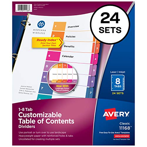 (Avery Ready Index 8-Tab Binder Dividers, Customizable Table of Contents, Multicolor Tabs, 24 Sets (11168))