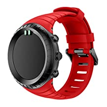For Suunto Core, Kingfansion Replacement Sports Silicone Bracelet Strap Band (Red)