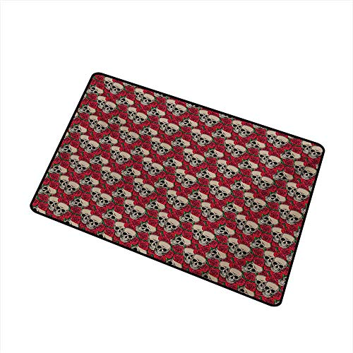 BeckyWCarr Rose Front Door mat Carpet Graphic Skulls and Red Rose Blossoms Halloween Inspired Retro Gothic Pattern Machine Washable Door mat W29.5 x L39.4 Inch,Vermilion Tan Green]()