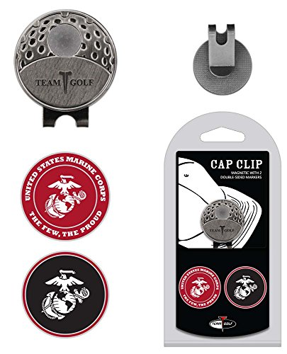 (Team Golf Military Marines Golf Cap Clip with 2 Removable Double-Sided Enamel Magnetic Ball Markers, Attaches Easily to Hats)
