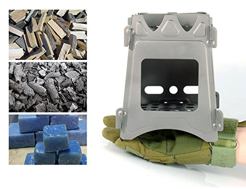 JOYOOO Camping Wood Stove,Folding Wood Stove,Portable Compact Lightweight Pure Titanium Stove,Outdoor Picnic BBQ Backpacking Camping Wood Burning Stove Alcohol Burner Pocket Stove(Titanium) For Sale