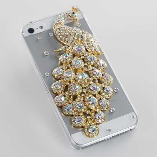 White Clear Luxury Bling Crystal Diamond Rhinestone Peacock Case Cover For iPhone 5 5g (Iphone 5 Crystal Bling Case compare prices)