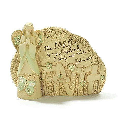 Praying Lord is My Shepherd Psalm 23:1 Resin Earth Tone 6 x 7.5 Resin Garden Rock Angel - My Studio 23