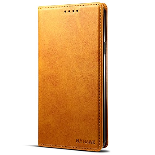 Samsung Note 9 PU Leather Wallet Kickstand Flip Cover with Phone Card Slots Case, Yellow (Issue Yellow Team)