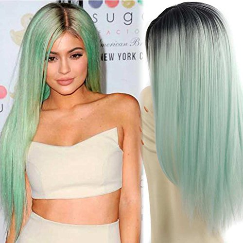 (AISI HAIR Synthetic Wigs Long Straight Ombre Wig Heat Resistant Fiber Mint Green Black Roots Full Wigs for Woman)