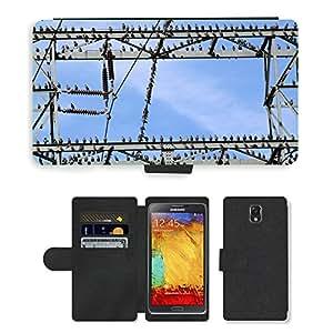 Super Stella Cell Phone Card Slot PU Leather Wallet Case // M00149773 Star Stare Star Flight Flock Of Birds // Samsung Galaxy Note 3 III N9000 N9002 N9005