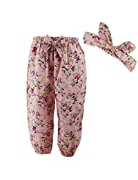 Wennikids Cute Toddler Baby Girls' Floral Loose Pants with Headwrap