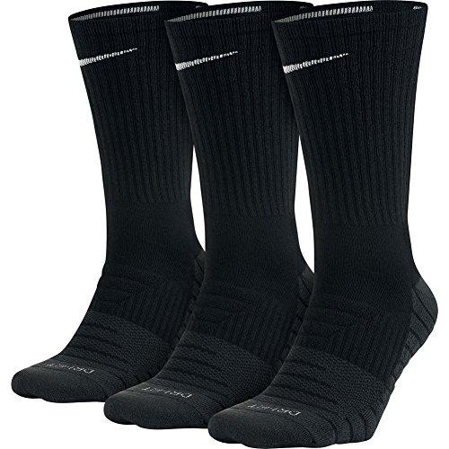 Nike Dry Cushion Crew Training Sock (3 Pairs) (L, Black)