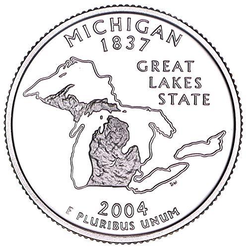 2004 S State Quarter Michigan 90% Silver Gem Deep Cameo Proof