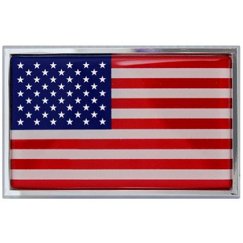 American Flag Chrome Auto Emblem