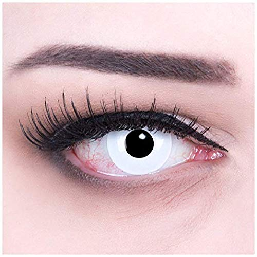 Women Multicolor Cute Charm and Attractive Fashion Eye Accessories Cosmetic Makeup Eye Shadow - White Halloween Carnival with Contact Lens Case By Biuti TM -