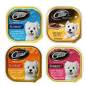 Cesar Sunrise Dog Food 4 Flavor 8 Can Bundle: (2) Scrambled Egg & Sausage, (2) Grilled Steak & Eggs, (2) Chicken & Cheddar Cheese Souffle, & (2) Smoked Bacon & Egg, 3.5 Oz. Ea. 93