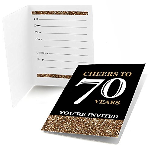 Adult 70th Birthday - Gold - Fill In Birthday Party Invitations - Set of 24 -