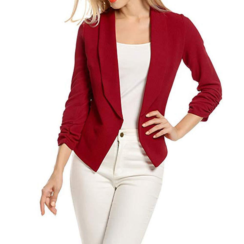 POTO Blazer for Women Clearance Sale!Ladies 3/4 Sleeve Blazers Open Front Short Cardigan Suit Jacket Work Office Coat