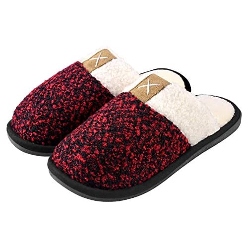 Women's Cozy Memory Foam Durable Slippers,Fuzzy Wool-Like Plush Fleece Lined House Shoes w/Indoor,Outdoor Anti-Skid Rubber Sole Wine Red