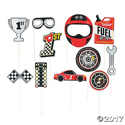 Race Car Photo Stick Props - 14 pcs