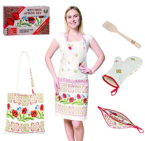 ViKei Mothers Day Ukrainian Cooking Apron Gift Set for Women in Beautiful Box - Unique Kitchen Gift Set for Mom and Wife