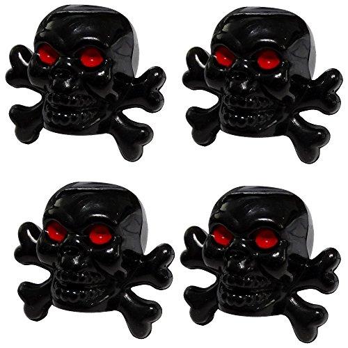 Aerzetix: 4 bouchons de valve auto vélo moto en forme de tête de mort couleur noir C19935