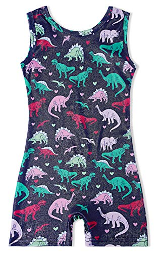 Toddler Girls Custom One Piece Leotard with Shorts Navy Blue Red Pink Green Dinosaur Dino 4-5 Year Old Competition Unitards Dance Outfits with No Skirt for Gymnastics Tumbling Class