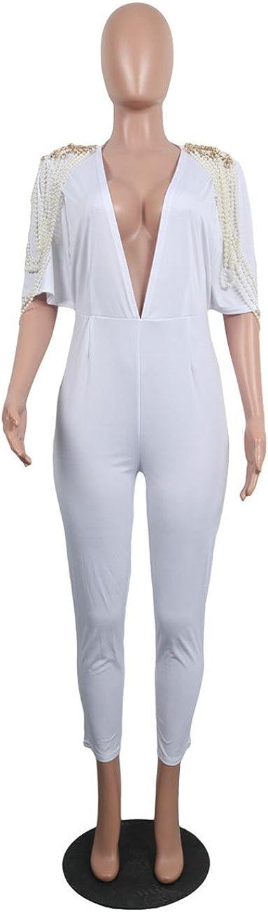 cnFaClu Womens Fashion Half Sleeve Deep V-Neck Faux Pearls Decoration Romper Jumpsuit