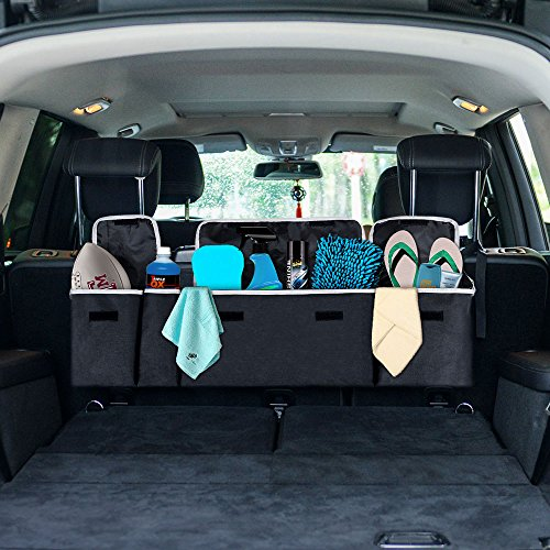 Backseat Car Trunk Organizer  Lumsing 2 In 1 Trunk Organizer With 4 Pocket Car Storage Bag Back Seat Organizer For Kids  Multipurpose Cargo Accessories Suv   Car Organizer