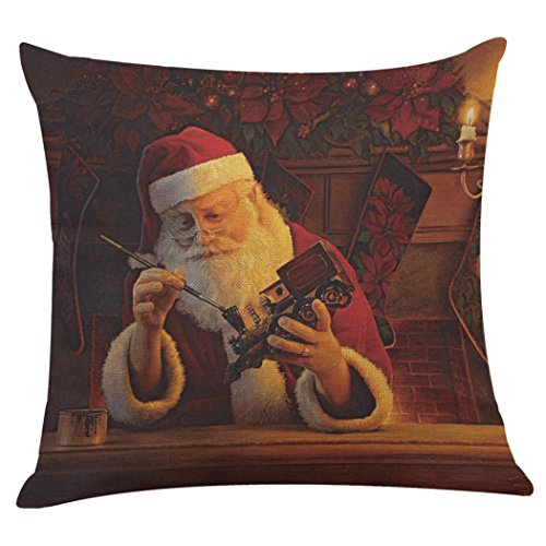 Hot Sale!!! Christmas Pillow Case,Jushye Xmas Printing Dyeing Sofa Bed Home Decor Pillow Cover Santa Claus Cushion Cover (I)