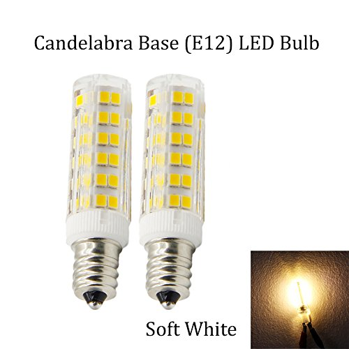 (Pack of 2) E12 Base Candelabra LED Bulb,Dimmable,Soft White (3000k),120 volt,400LM, 5w Equivalent 40 watt Incandescent,Replaces T7/T8/T6/S6 Light Bulb (Appliance Bulb Led T8 compare prices)