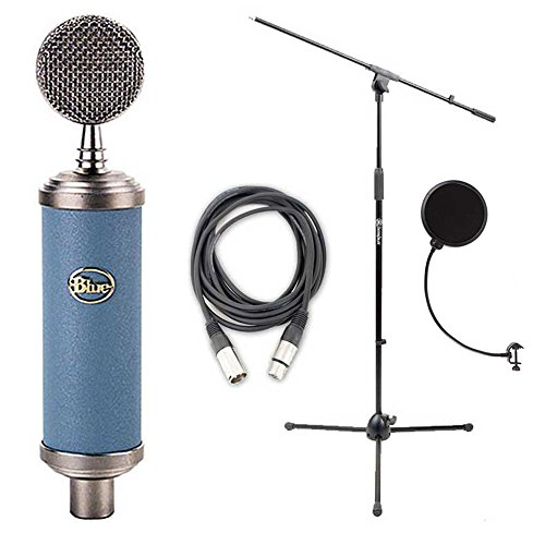 Blue Bluebird Microphone Bundle with Mic Boom Stand, XLR Cable and Pop Filter Popper Stopper by Blue