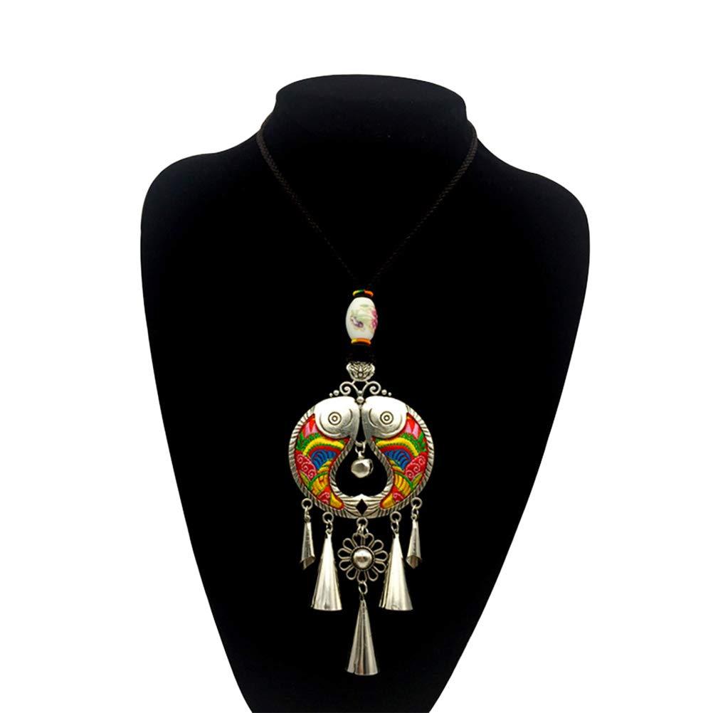 FENICAL Collier de Broderie Ethnique rétro Poisson Pendentif Collier déclaration de Bijoux