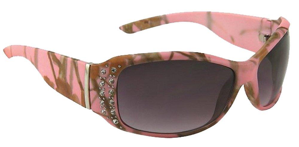 Womens Polarized Pink Camo Sunglasses with Rhinestones
