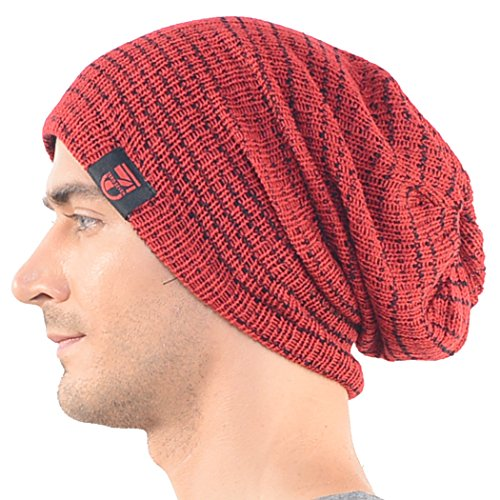 Mens Slouchy Beanie Long Cap Winter Knit Skullcap Red B0724 - Buy ... d5b0c0ec7b9