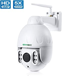 PTZ Camera Outdoor, SV3C Super HD 5 Megaxiples Pan Tilt Zoom 5X Remote WiFi Wireless Camera, Smart Humanoid Motion Detect Cam with Mic & Speaker IP66 Waterproof 196ft Night Vision| 128GB SD Card Slot