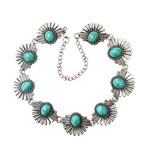 Olsen Twins Antique Silver Turquoise Stone Choker Necklaces,Vintage Boho Collar Jewelry (Flower)