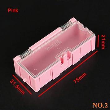 Cajas de almacenamiento de componentes IC caja de herramientas, caja de herramientas, caja de herramientas electrónica, práctica caja de joyería, caja de parches, rosa, 10 unidades: Amazon.es: Bricolaje y herramientas