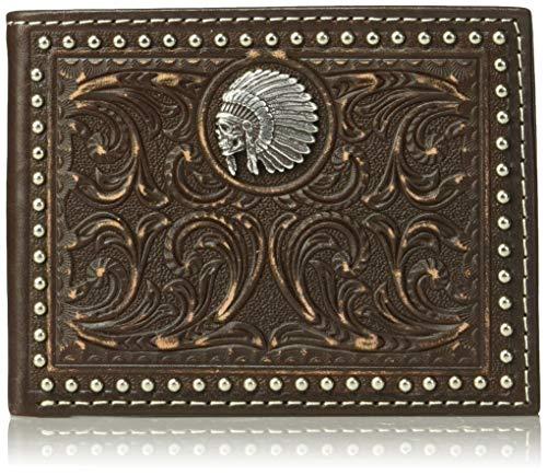 American Wallet Mens West - Ariat Unisex-Adult's Scroll Embosed Head Dress Bifold Wallet, Brown