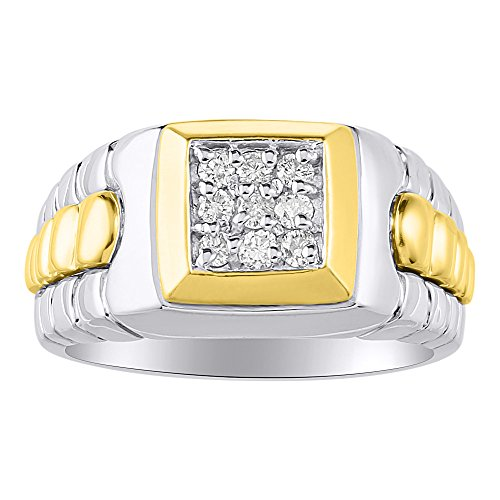 (Mens Two Tone Diamond Role X Designer Style Ring 14K Gold)