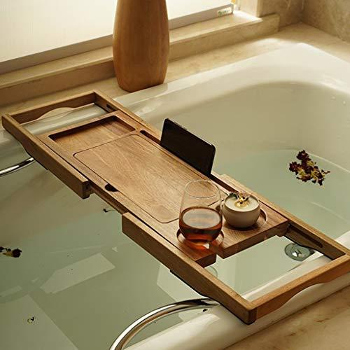 ZhaoLiRuShop Bathtub Trays Bath Caddy Bath Tray Bath Board Solid Wood Telescopic Non-Slip Bathtub Frame Mildew Bath Bracket Bath Tub Barrel Bath Bracket (Color : Natural, Size : 62.5-9520cm) by ZhaoLiRuShop (Image #1)