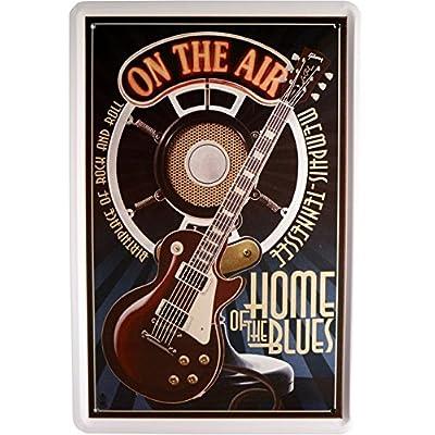 Plaque de Musique Guitare Home of the Blues 20x 30cm publicité retro Tôle 850