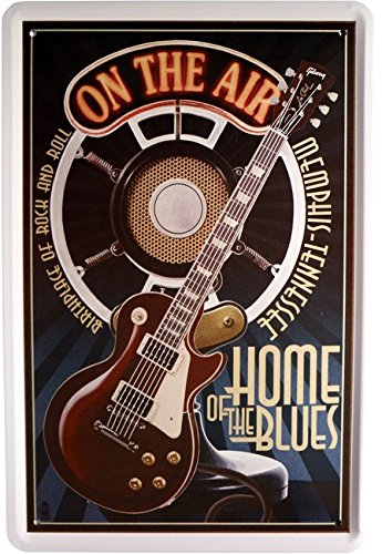 Cartel de chapa Música Guitarra Home of the Blues 20 x 30 cm Diseño Retro 850
