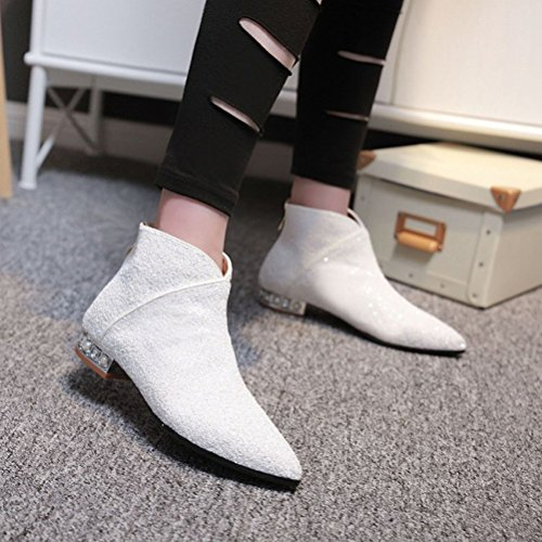 Agodor Womens Flat Glitter Ankle Boots With Zip Pointed Toe Fashionable Autumn Winter Shoes White yFg7yM