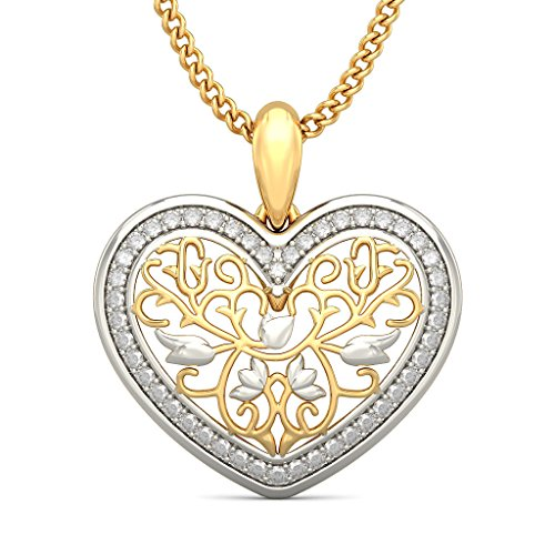 14 K Or jaune 0.24 CT TW Round-cut-diamond (IJ | SI) Pendentif