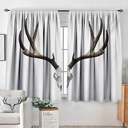 Mozenou Antlers Window Curtain Drape A Deer Skull Skeleton Head Bone Halloween Weathered Hunter Collection Door Curtain Blackout 72