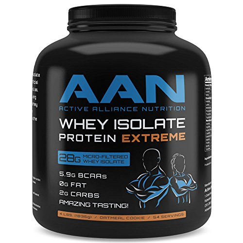 Whey Protein Isolate- Fat Free, Low Carb, Post Workout Shake Meal Replacement (4lbs Oatmeal Cookie)