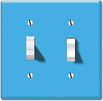 Wirester Double Gang Toggle Light Switch Plate Wall Plate Cover Solid Baby Blue Amazon Com