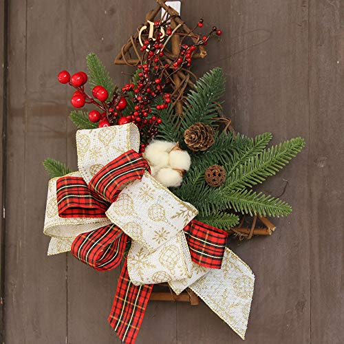 Christmas Tree Hanging Decoration Flower Bow FANOUD Christmas Wreath Door Wall Ornament FANOUD for $<!--$9.65-->